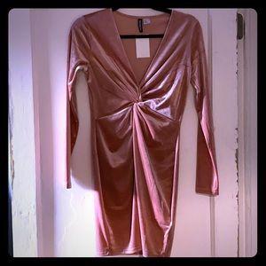 Velvet rose gold mini dress